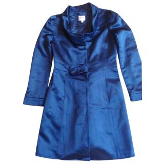 Armani Collezioni blue silk blend coat blue