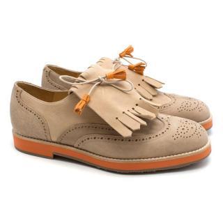 T & F Slack Shoemakers London Handmade Beige Brogues with Orange Sole