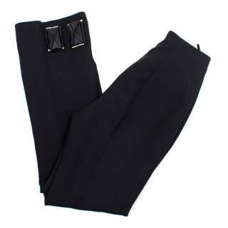 Prada Black Wool Embellished Straight Leg Trousers
