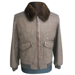 Brioni bomber jacket with fur collar