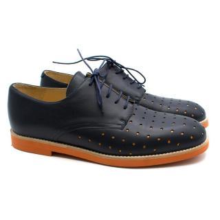 T & F Slack Shoemakers Handmade Navy Blue and Orange Brogues