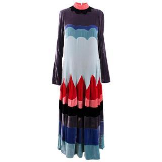 Meadham Kirchhoff Velvet Multi- coloured Patchwork Dress