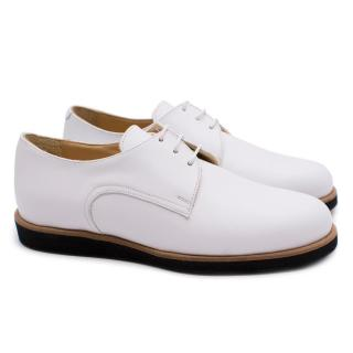 T & F Slack Shoemakers Handmade White Derby Brogues with Black Sole