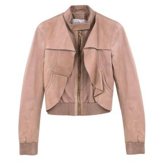 Valentino Nude Leather Ruffled Jacket