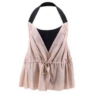 Fendi Pink and Black Halter Neck Silk Top