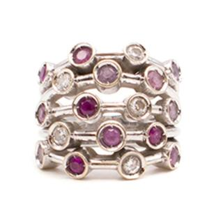 Chanel Ruby, pink sapphire and diamond 18K White Gold Ring