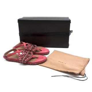 Alaia Pink Studded Gladiator Sandals