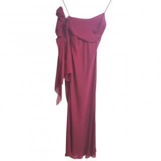 Alberta Ferretti Burgundy Silk Dress