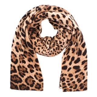 Dolce & Gabbana Leopard Print Cashmere Scarf