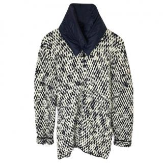 Moncler Black And White Tweed Coat