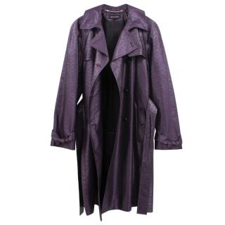 Escada Purple Ostrich Print Leather Trench Coat