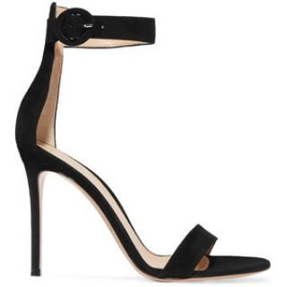 Gianvito Rossi Black Suede Portofino 105 Heeled Sandals
