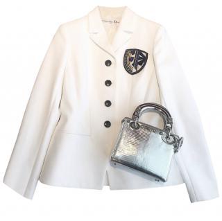 Dior classic badge white blazer jacket