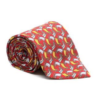 Salvatore Ferragamo Red Beach Chairs Print Tie
