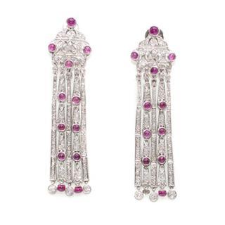 Adler Ruby and Diamond 18ct White Gold Chandelier Ear pendants