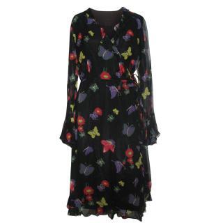 Anna Sui buttefly silk wrap dress