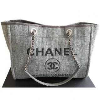 CHANEL Deauville Tote in Grey Canvas