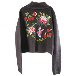 Nicole Farhi Mohair/silk embroidered cardigan.