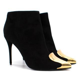 Alexander McQueen Gold Cap Toe Black Suede Booties