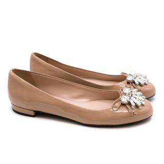 Miu Miu Patent Leather Nude Flats with Crystal embellishments