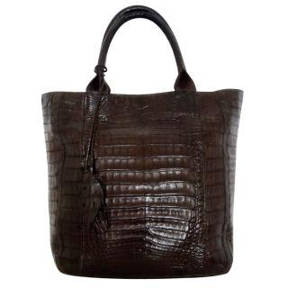 Nancy Gonzalez crocodile tote feather bag
