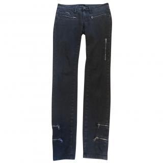 Victoria Beckham black stretchy skinny zip embellished jeans