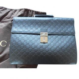 Gucci signature leather logo  briefcase