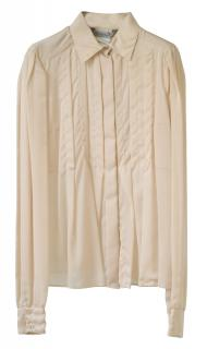 Sportmax ivory pleated silk blouse