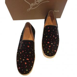 Louboutin Swarovski Embellished Sneaker Flats