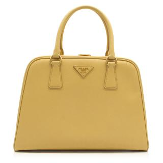 Prada Pyramid Canary Yellow Top Handle Bag
