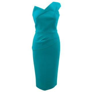 Roland Mouret Lyford Teal Peplum Dress