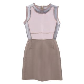 'Victoria' Victoria Beckham Grey Mesh Mini Dress