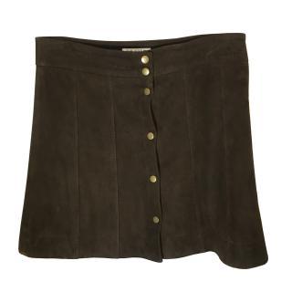 Frame Brown Suede Skirt.