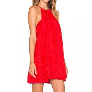 Assali hydrangea mini dress in red