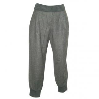 DOLCE & GABBANA grey wool jogger trousers, size 40 UNWORN