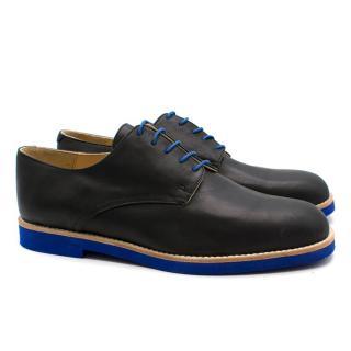 T&F Slack Shoemakers London Handmade Black Brogues with a Blue Sole