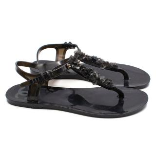 Chanel Black Jelly Camellia Thong Sandals
