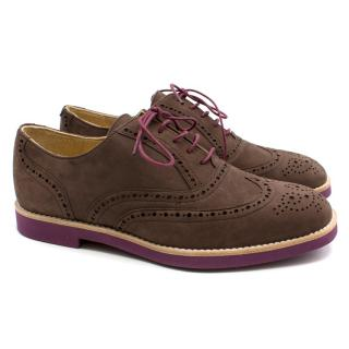 T & F Slack Shoemakers Handmade Brown Brogues with Purple Sole.