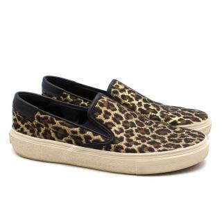 Saint Laurent Tan Leopard Slip-on Sneakers