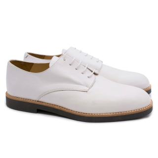 T & F Slack Shoemakers White Leather Handmade Brogues with Grey Sole
