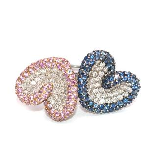 Bespoke Pink and Blue Pave Set Diamond 18K White Gold Ring Set