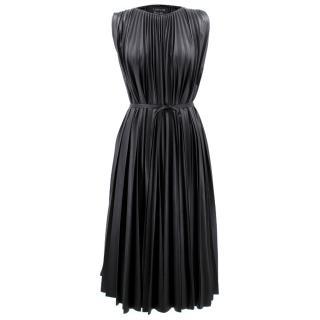 Lanvin Faux Leather Pleated Midi Dress