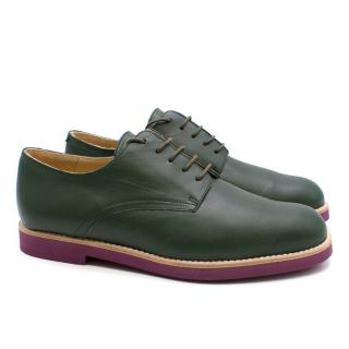 T & F Slack Shoemakers Dark Green Handmade Brogues with Purple Sole