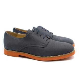 T & F Slack Shoemakers Grey Leather Brogues with Orange Sole