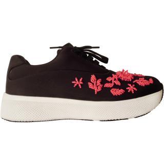 Prada black trainers sneakers neoprene beads