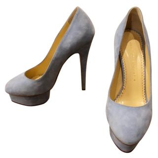 Charlotte Olympia Grey suede Daphne Pumps