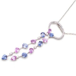 Bespoke White Gold, Diamond & Sapphire Necklace