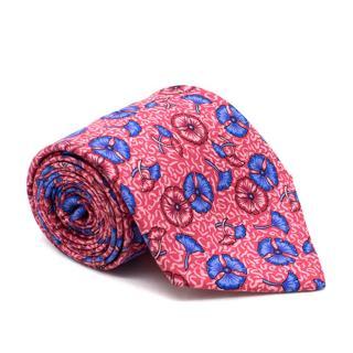 Hermes Pink and Blue Flowers Pattern Tie