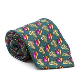 Harrods Green Vegetable Print Tie