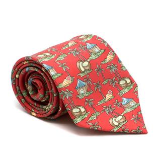 Hermes Red Silk Beach Pattern Tie